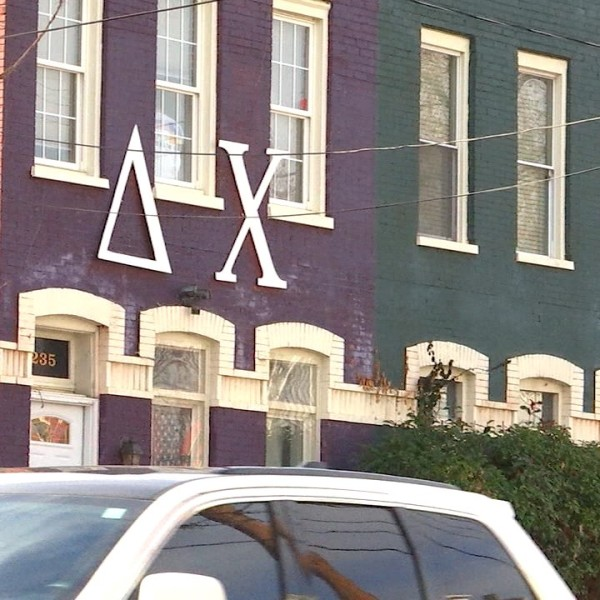 The exterior of the Delta Chi Fraternity house in Richmond.
