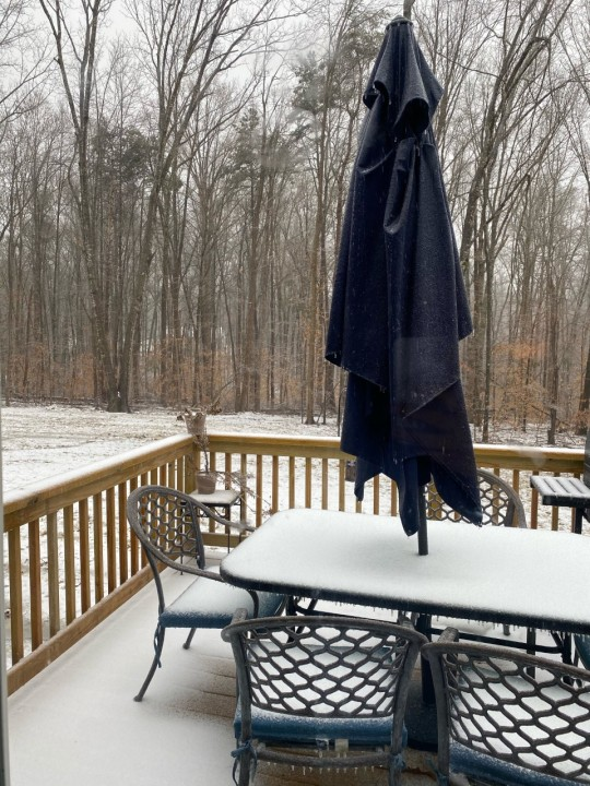The snow and ice have begun accumulating in Powhatan. (Photo from Christiane Dennis)