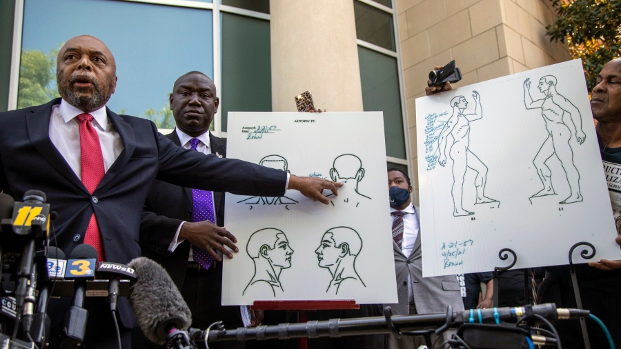 Attorneys for the family of Andrew Brown Jr., Wayne Kendall, left, and Ben Crump hold a news conference