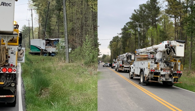Chesterfield County Police respond to crash that caused downed power lines. (Photos by Chesterfield Police)
