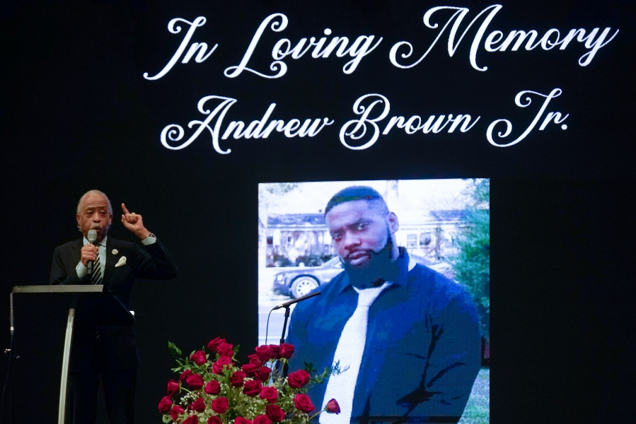 Rev. Al Sharpton speaking during the funeral for Andrew Brown Jr.