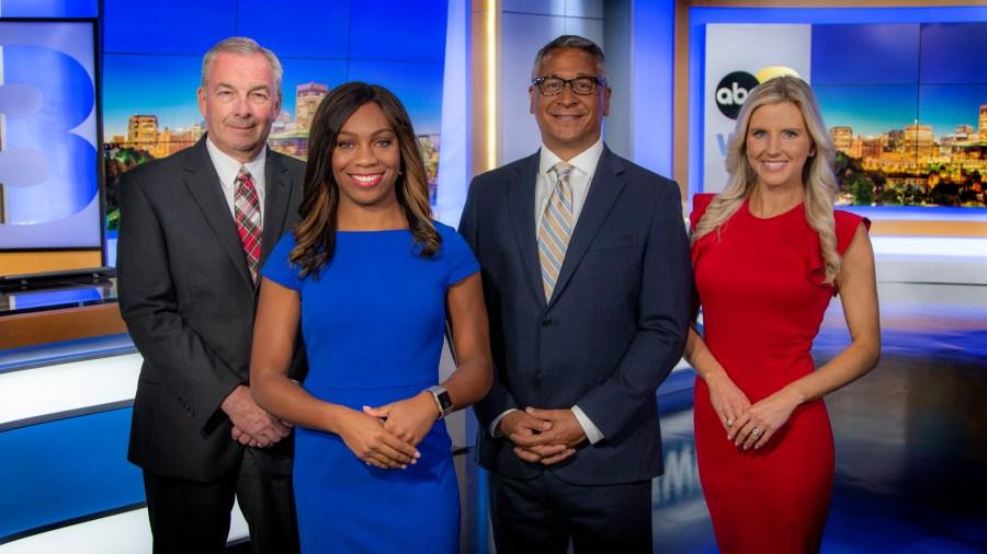 8News evening news team (L to R): Chief Meteorologist John Bernier, Anchor Deanna Allbrittin, Anchor Juan Conde, Sports Anchor Natalie Kalibat
