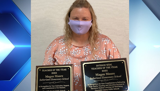Magen Moore with her plaques after being awarded Teacher of the Year. (Photos by Dinwiddie County Public Schools)