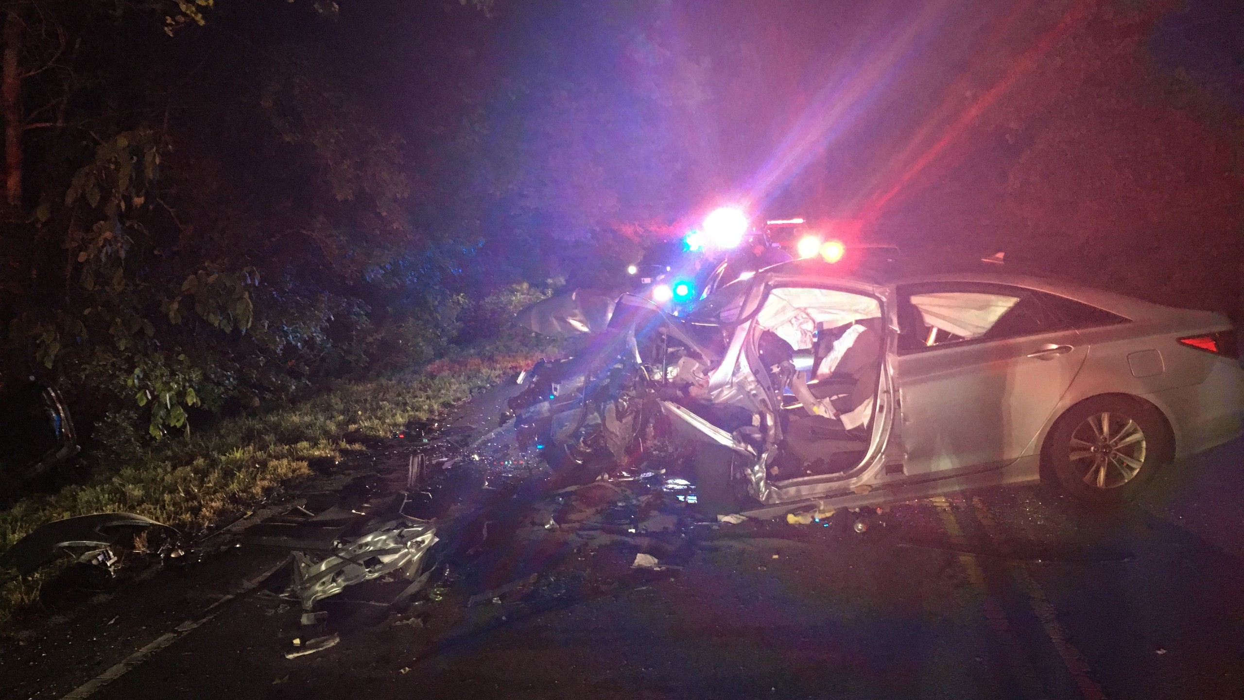 Vehicle destroyed after a crash in York County. (Photo by Virginia State Police)