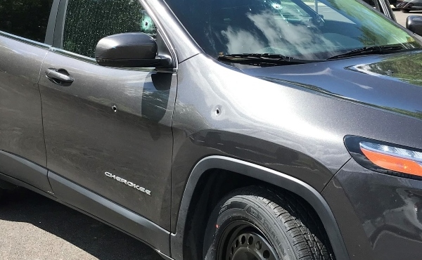 Jeep SUV with bullet holes after a shooting on I-95. ( Photo by Virginia State Police)
