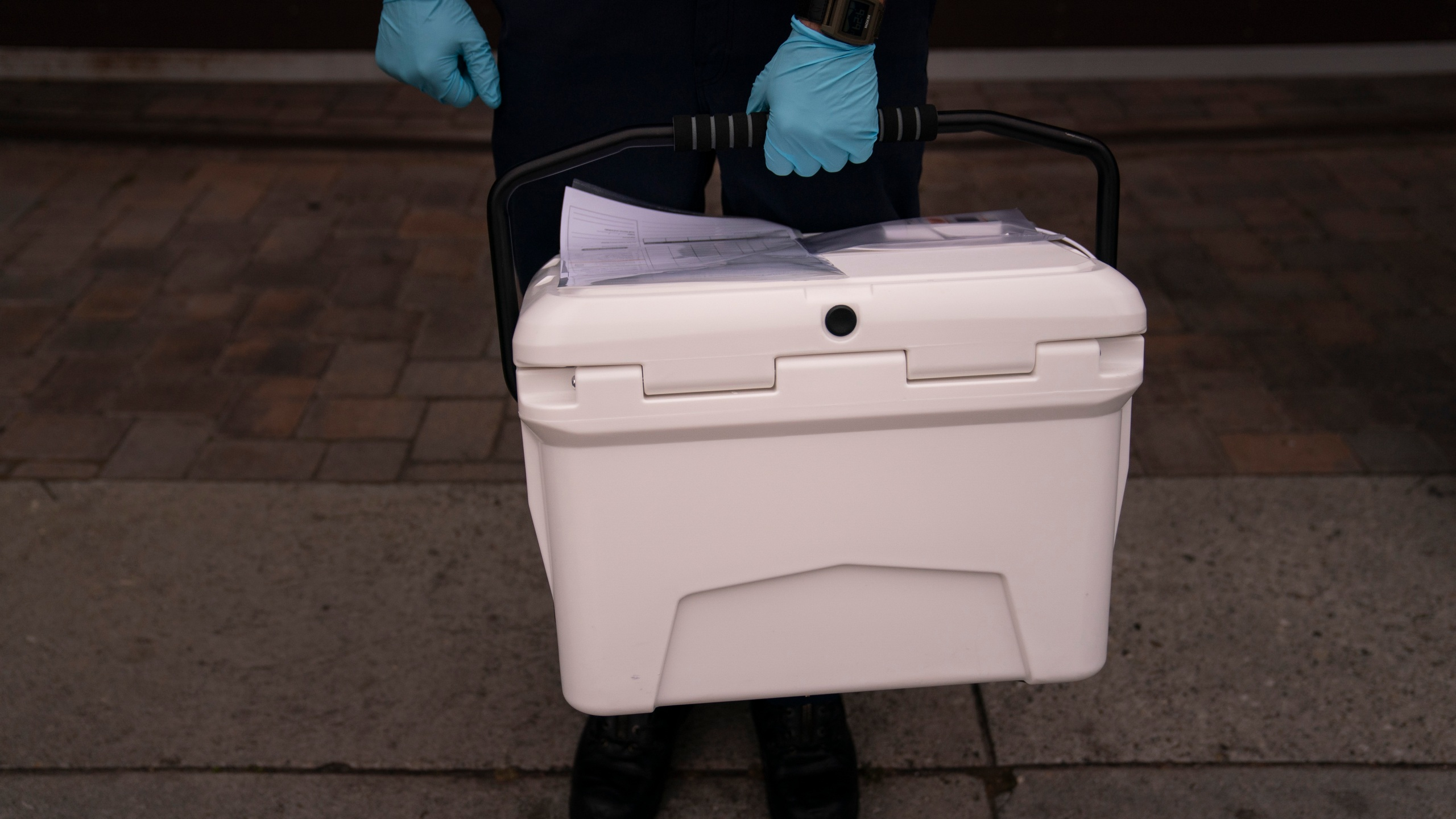 Volunteer carrying a cooler containing the Pfizer COVID-19 vaccine. (AP Photo/Jae C. Hong)