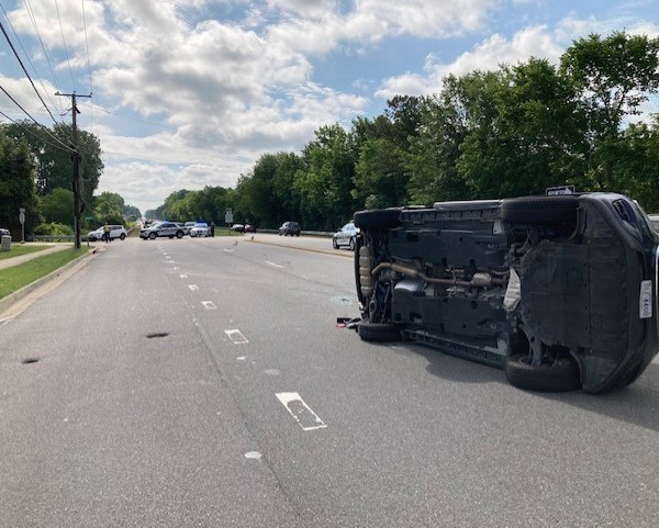 car flipped on Patterson