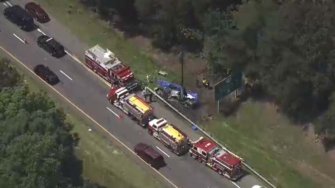 Aerial view of traffic accident