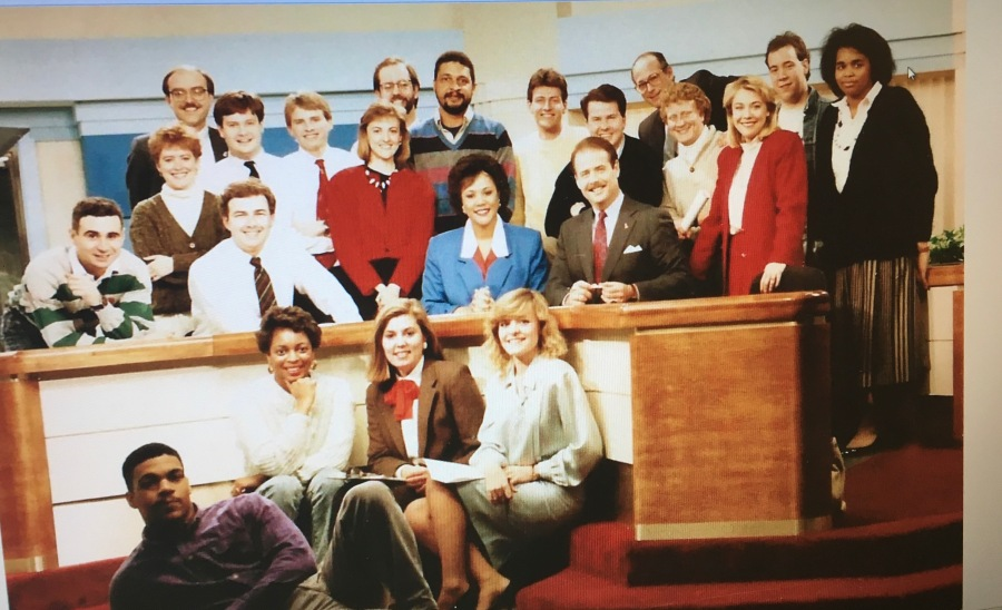 An archive photo of the WRIC 8News team featuring Lisa Schaffner and other colleagues.