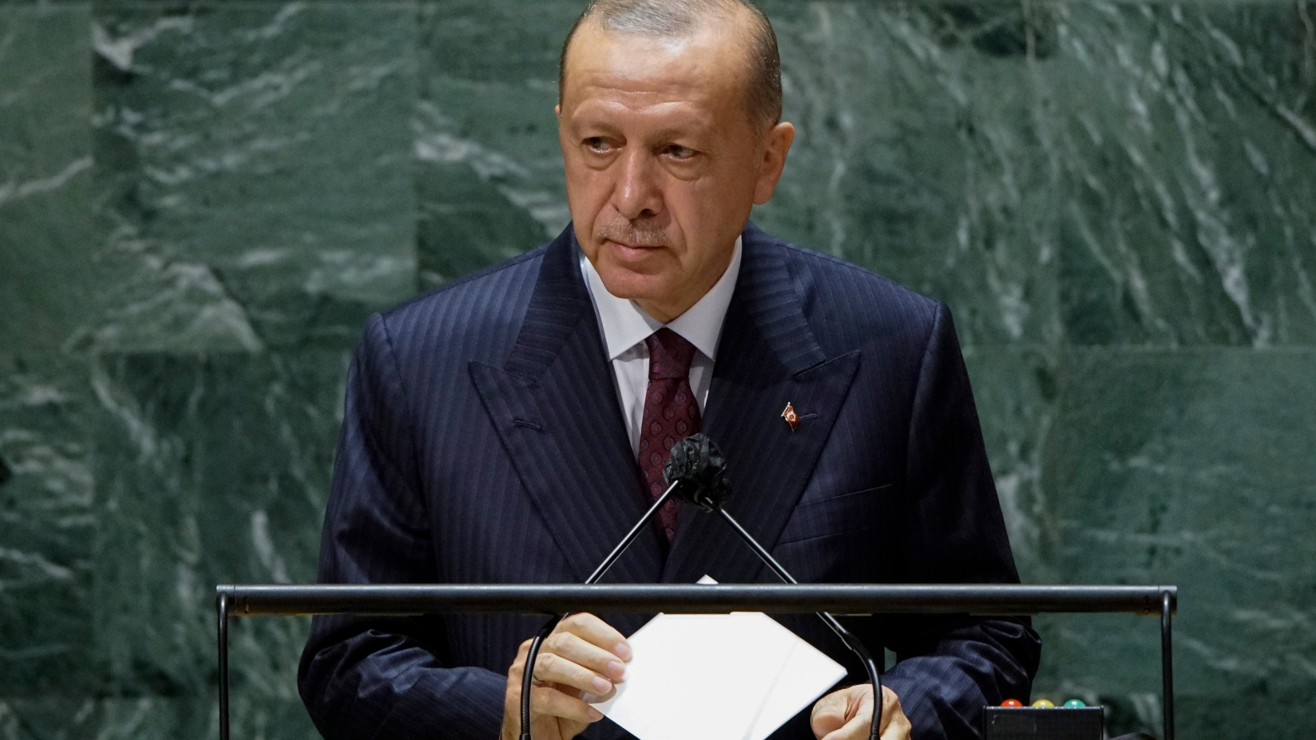 Turkish President Tayyip Erdogan addresses 76th Session of the U.N. General Assembly in New York City