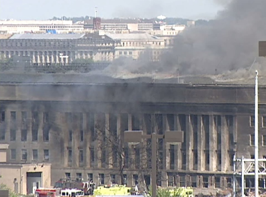 Smoke rising from the Pentagon after the 9/11 terrorist attacks