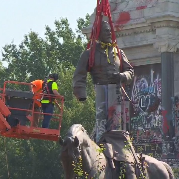 Crews separated the statue at the torso in order to transport it to another location