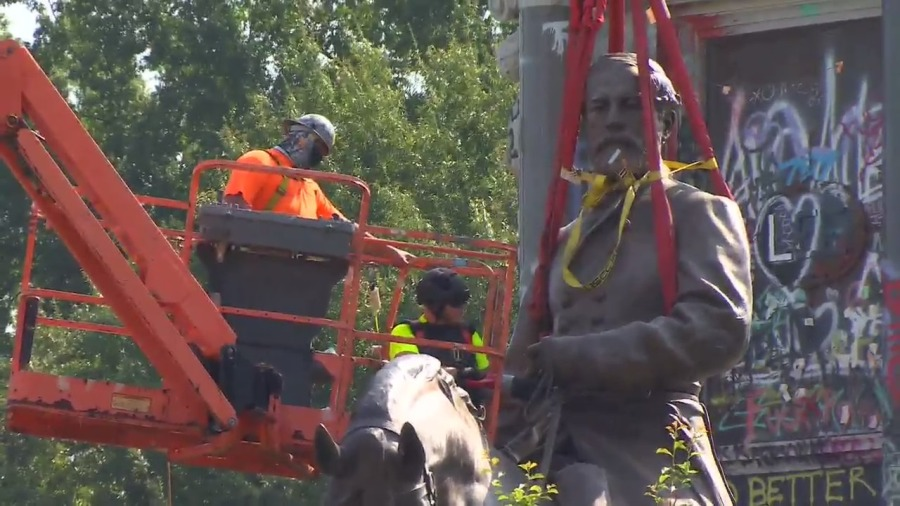 Crews plan to separate the statue at the torso in order to transport it to another location