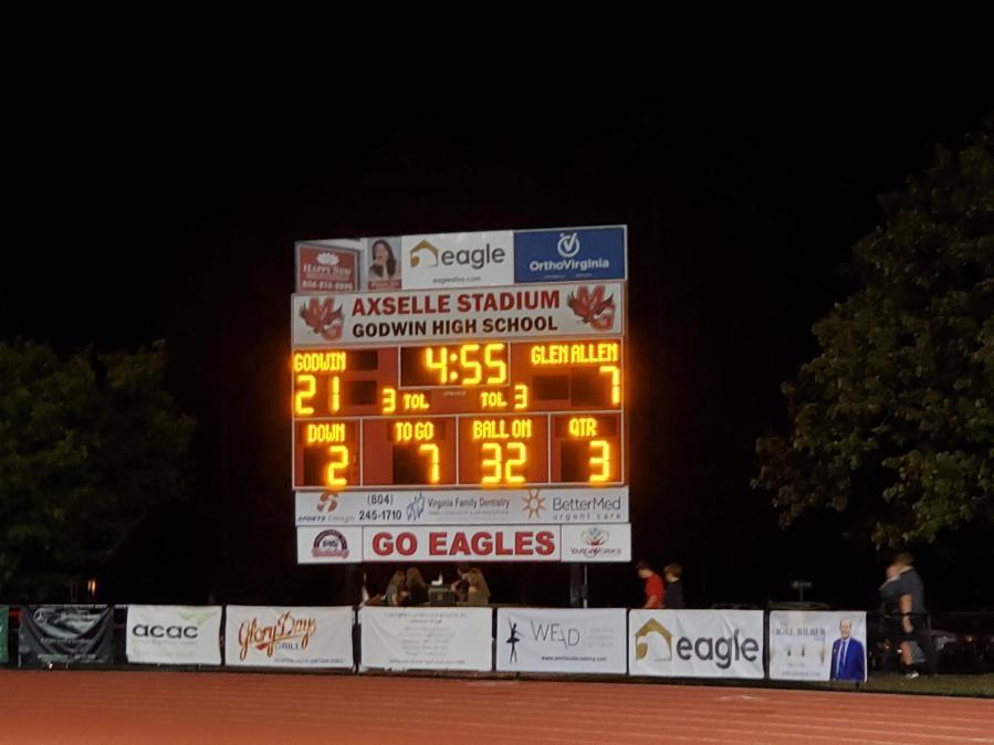 Scoreboard at Mills Godwin