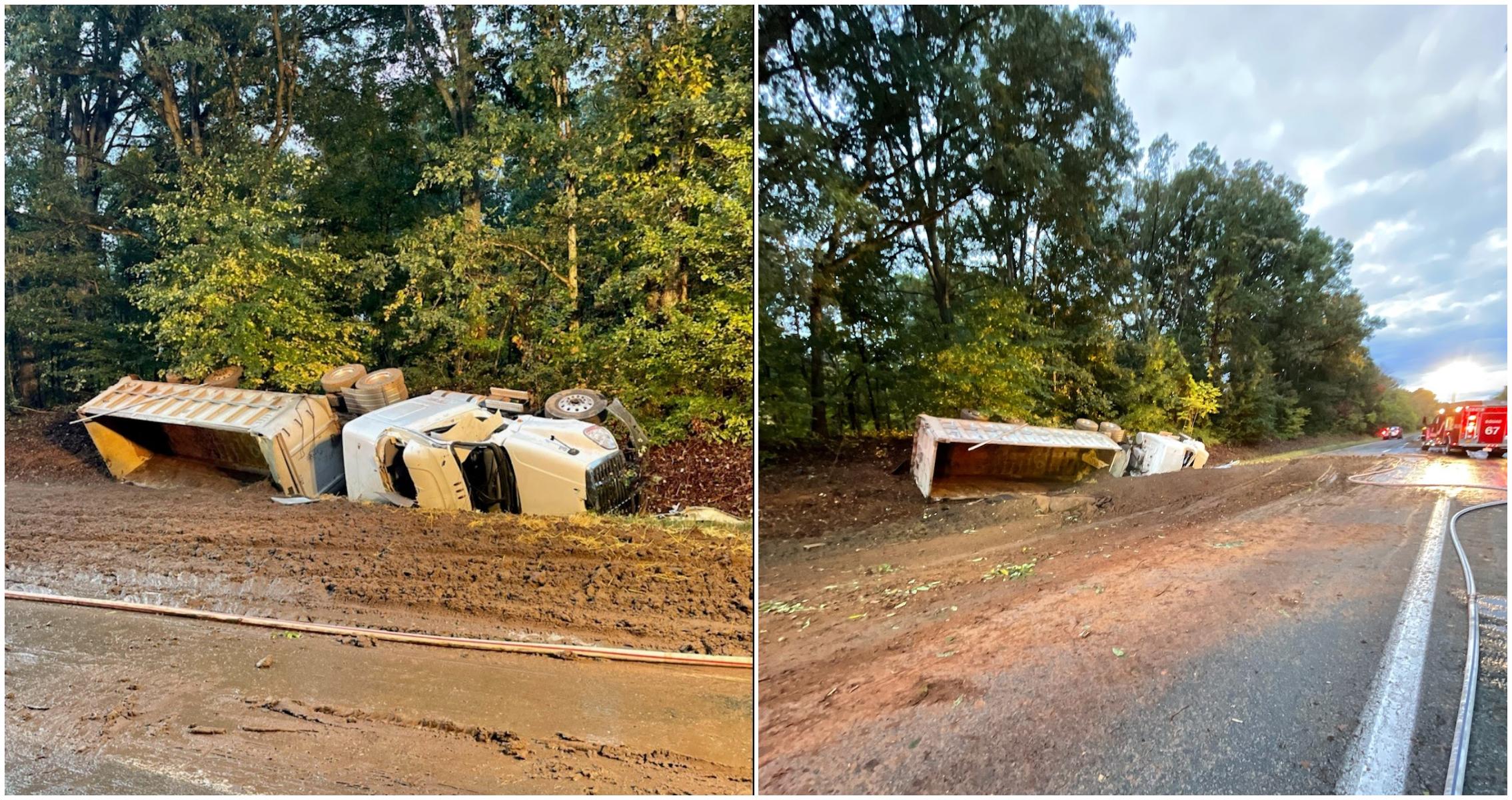 Overturned dump truck